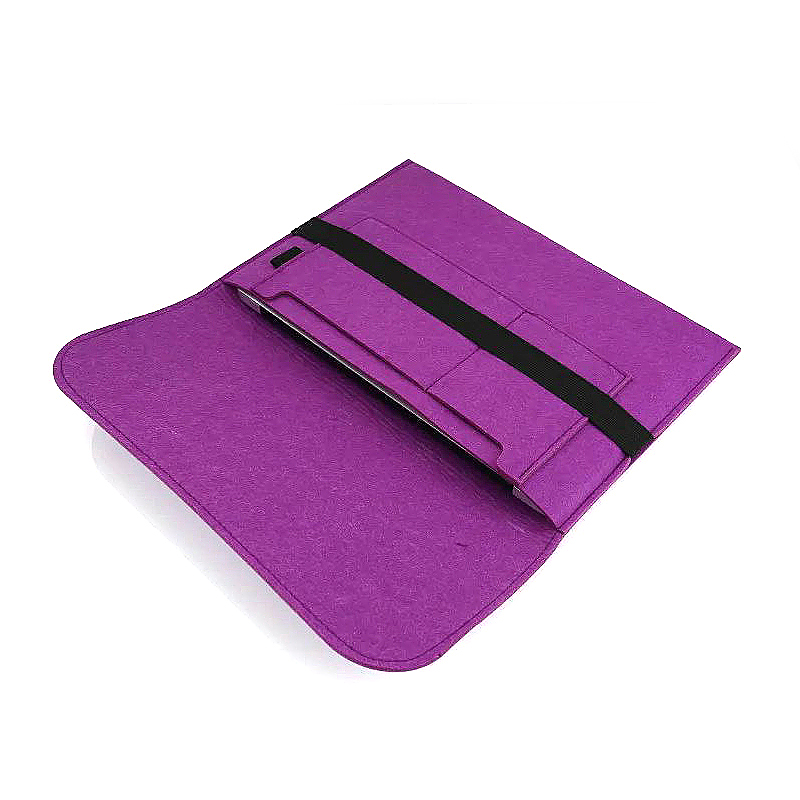 15 Inch Fashion Horizontal Open Felt Sleeve Laptop Case Cover Bag for MacBook - Purple