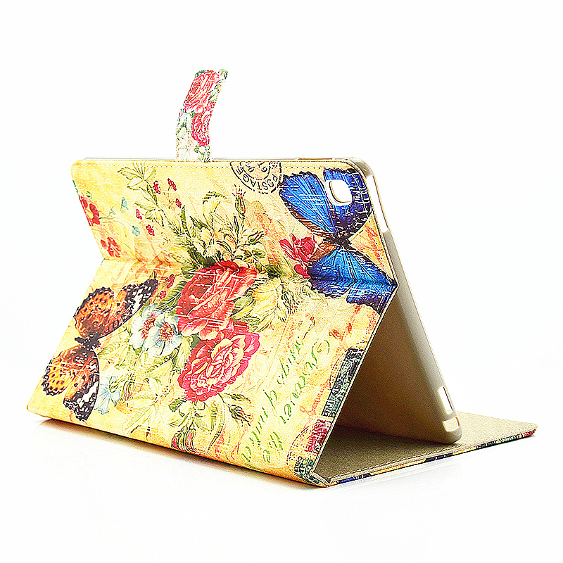 Vintage Blossom Flower Slim Flip Stand Leather Case with Card Slot for iPad Pro 9.7 - Blue Butterfly