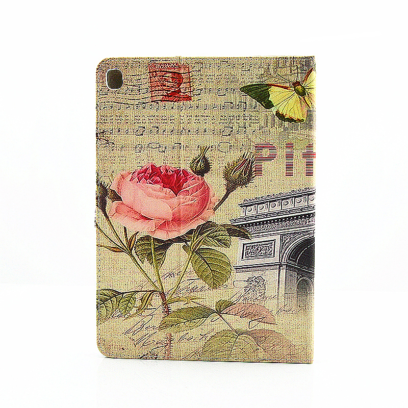 Vintage Blossom Flower Slim Flip Stand Leather Case with Card Slot for iPad Pro 9.7 - Yellow Butterfly