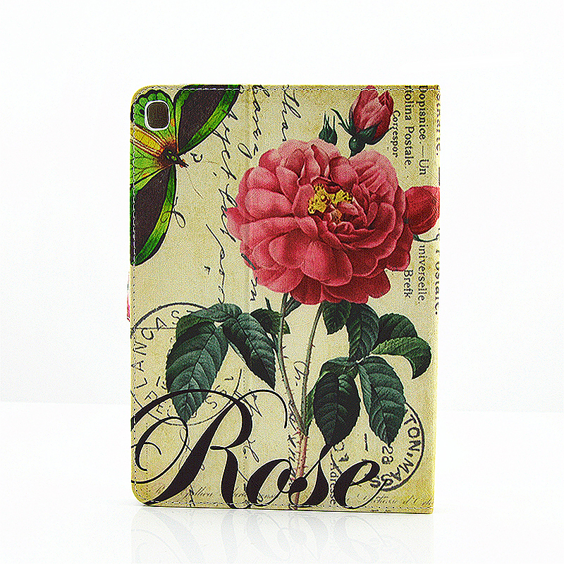 Vintage Blossom Flower Slim Flip Stand Leather Case with Card Slot for iPad Pro 9.7 - Green Butterfly