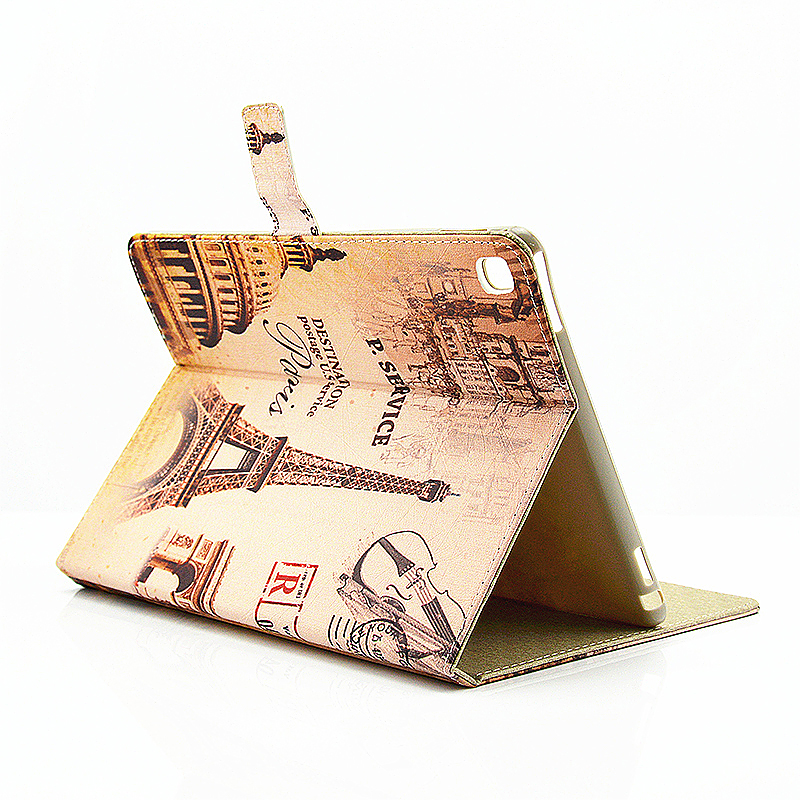 Vintage Slim Flip Stand Leather Case with Card Slot for iPad Pro 9.7 - Eiffel Tower