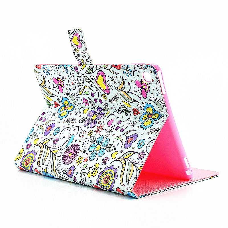 Painted Slim Flip Stand Leather Case with Card Slot for iPad Pro 9.7 - Flower