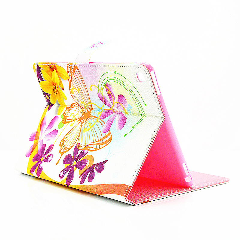 Painted Slim Flip Stand Leather Case with Card Slot for iPad Pro 9.7 - Orange Butteryfly