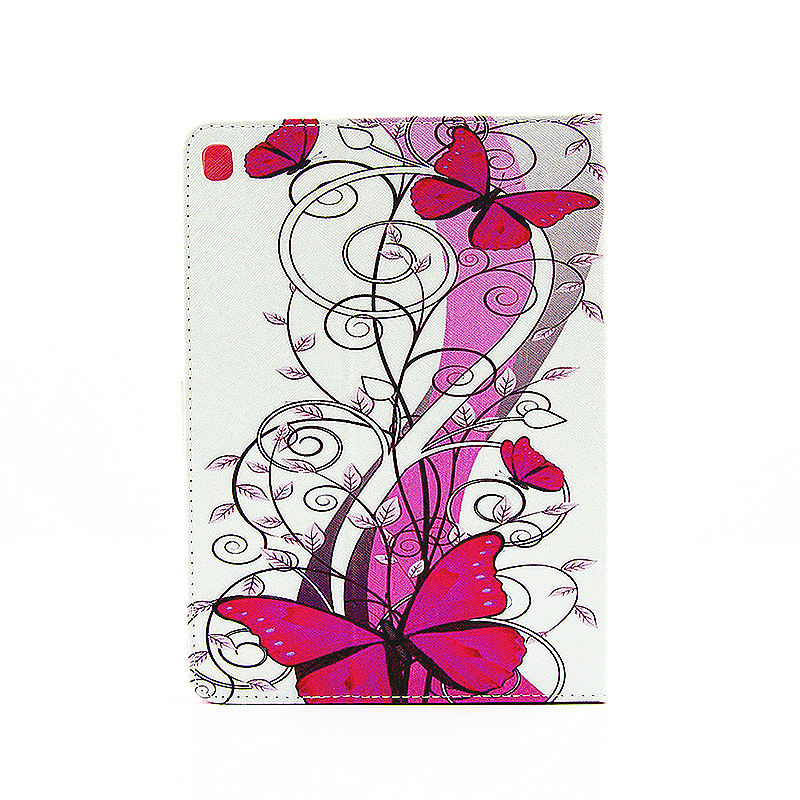 Painted Slim Flip Stand Leather Case with Card Slot for iPad Pro 9.7 - Red Butterfly
