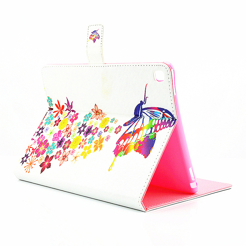 Painted Slim Flip Stand Leather Case with Card Slot for iPad Pro 9.7 - Colorful Butterfly