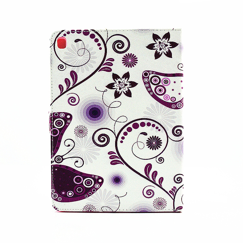 Painted Slim Flip Stand Leather Case with Card Slot for iPad Pro 9.7 - Purple Butterfly