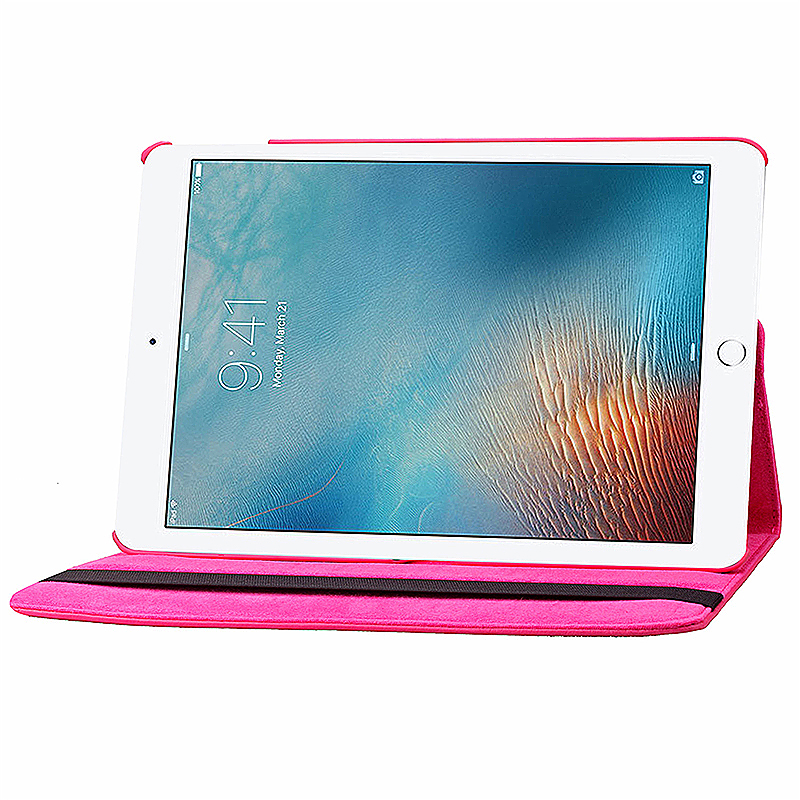 360 degree Rotating PU Leather Flip Stand Case Cover Skin for iPad Pro 9.7 - Rose Red