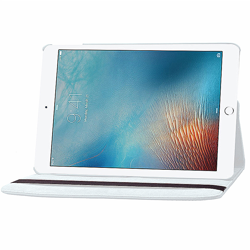 360 degree Rotating PU Leather Flip Stand Case Cover Skin for iPad Pro 9.7 - White