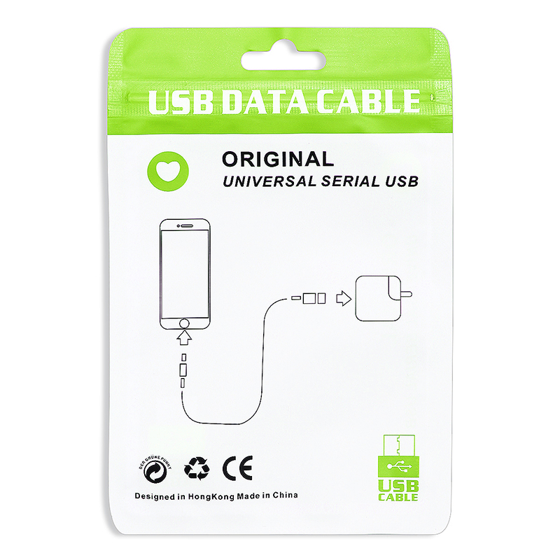 Original Universal USB Data Cable Sealing PE Packing Package Bag for Samsung iPhone - Green