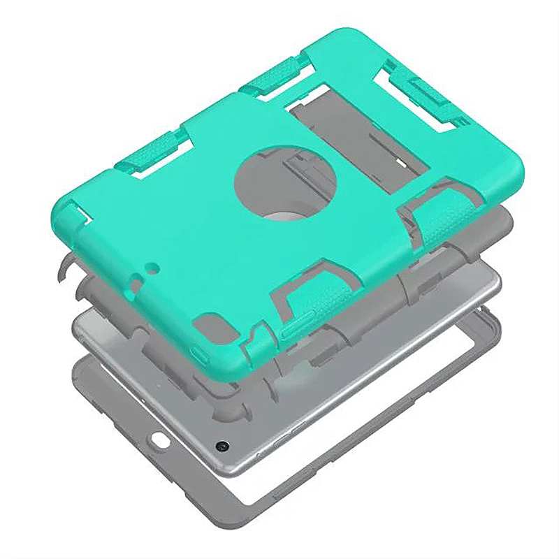 Robot Armor kickstand Shockproof Protective Case Cover for iPad Mini3 - Mint Green + Grey