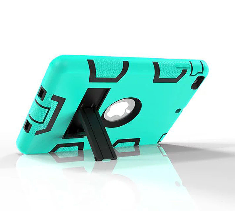 Robot Armor kickstand Shockproof Protective Case Cover for iPad Mini3 - Mint Green + Black