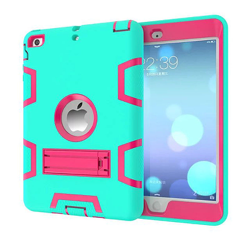 Robot Armor kickstand Shockproof Protective Case Cover for iPad Mini3 - Mint Green + Rose Red