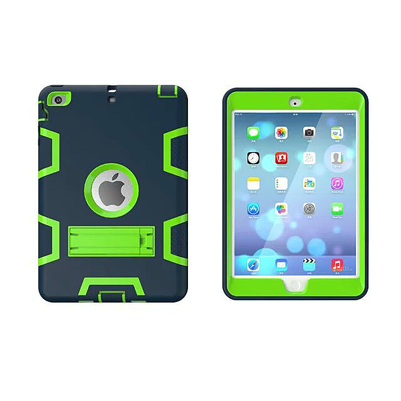 Robot Armor kickstand Shockproof Protective Case Cover for iPad Mini3 - Navy + Green