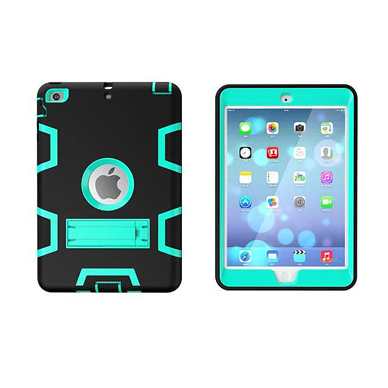 Robot Armor kickstand Shockproof Protective Case Cover for iPad Mini3 - Black + Mint Green