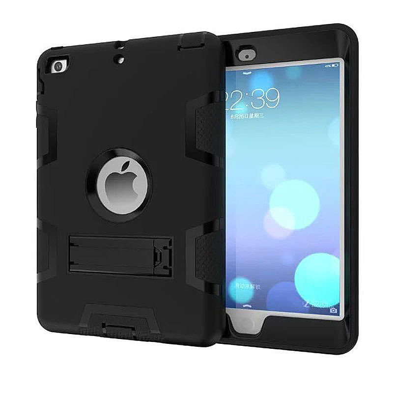 Robot Armor kickstand Shockproof Protective Case Cover for iPad Mini3 - Black + Black