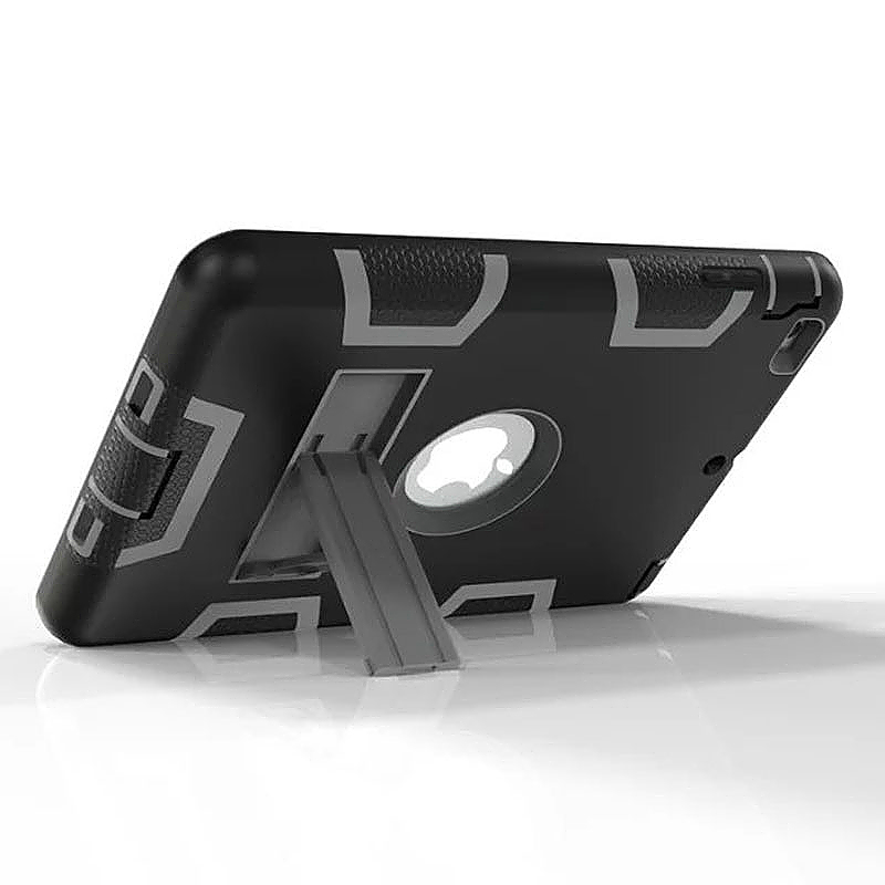 Robot Armor kickstand Shockproof Protective Case Cover for iPad Mini3 - Black + Grey
