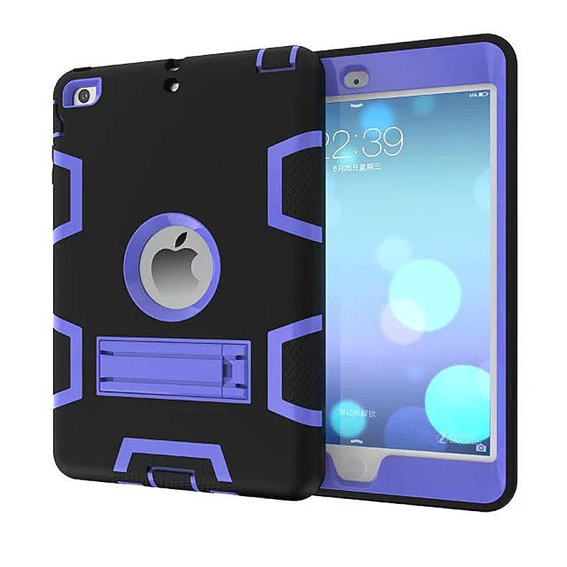 Robot Armor kickstand Shockproof Protective Case Cover for iPad Mini3 - Black + Purple