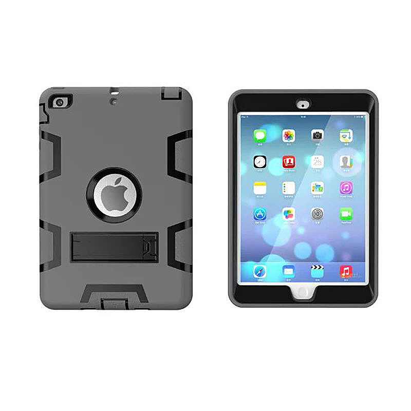 Robot Armor kickstand Shockproof Protective Case Cover for iPad Mini3 - Grey + Black