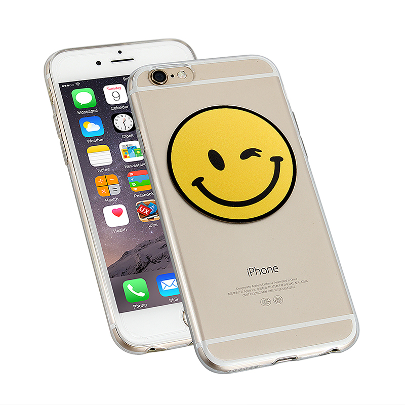 Clear Slim Soft TPU Back Cover Case for Apple iPhone 6 - Squinting Face
