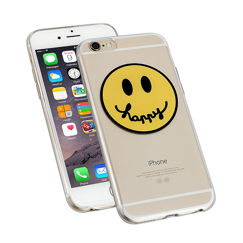 Clear Slim Soft TPU Back Cover Case for Apple iPhone 6 - Happy Face