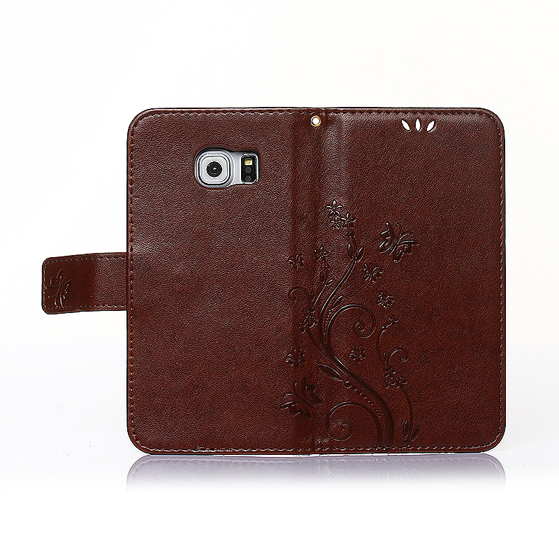Embossed PU Leather Stand Wallet Case Cover with Card Slots for Samsung Galaxy S6 Edge - Red Brown