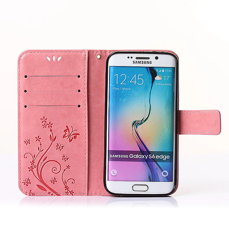 Embossed PU Leather Stand Wallet Case Cover with Card Slots for Samsung Galaxy S6 Edge - Pink