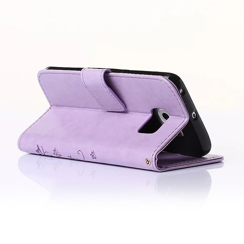Embossed PU Leather Stand Wallet Case Cover with Card Slots for Samsung Galaxy S6 Edge - Light Purple