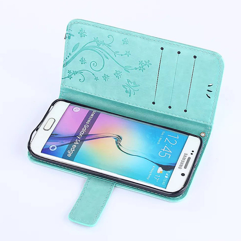 Embossed PU Leather Stand Wallet Case Cover with Card Slots for Samsung Galaxy S6 Edge - Green