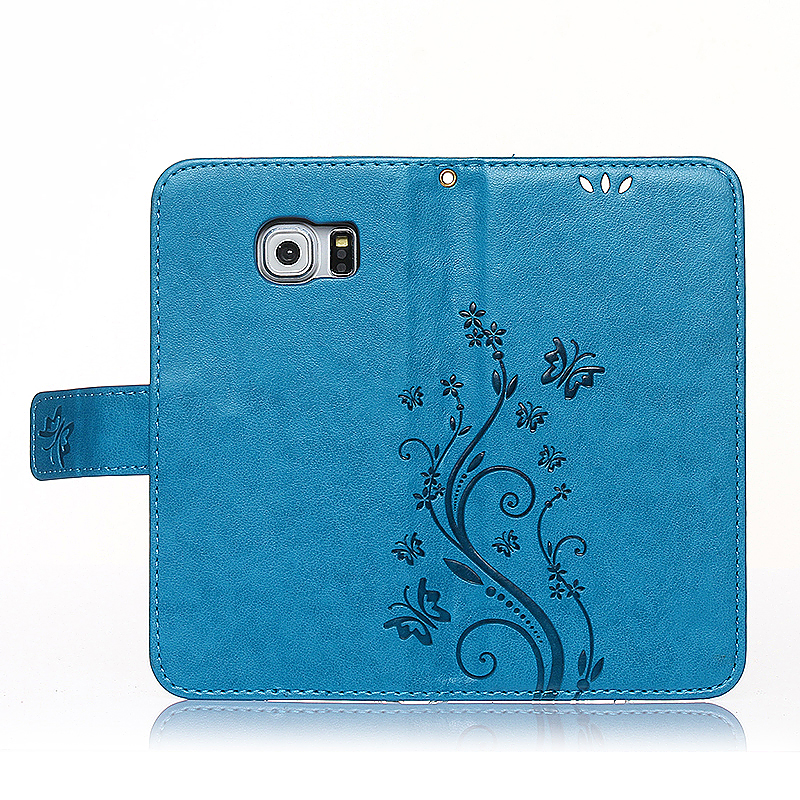 Embossed PU Leather Stand Wallet Case Cover with Card Slots for Samsung Galaxy S6 Edge - Blue