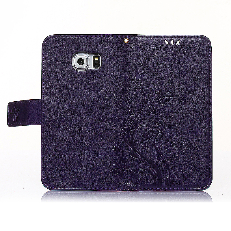 Embossed PU Leather Stand Wallet Case Cover with Card Slots for Samsung Galaxy S6 Edge - Purple