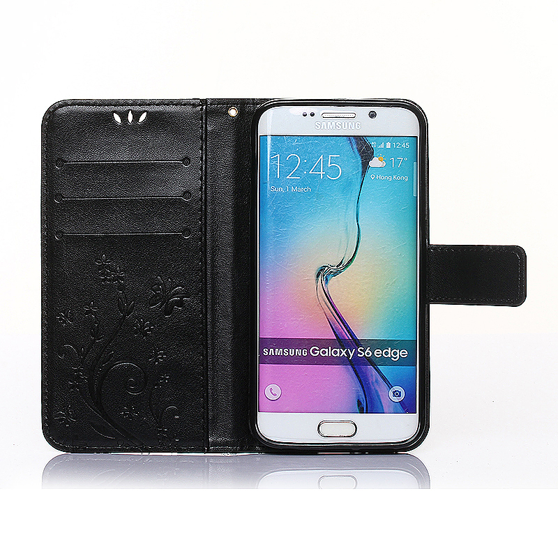 Embossed PU Leather Stand Wallet Case Cover with Card Slots for Samsung Galaxy S6 Edge - Black
