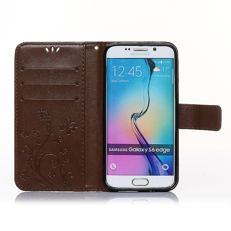 Embossed PU Leather Stand Wallet Case Cover with Card Slots for Samsung Galaxy S6 Edge - Brown