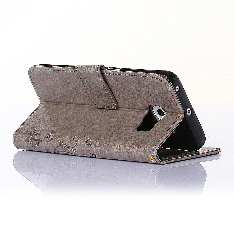 Embossed PU Leather Stand Wallet Case Cover with Card Slots for Samsung Galaxy S6 Edge - Grey