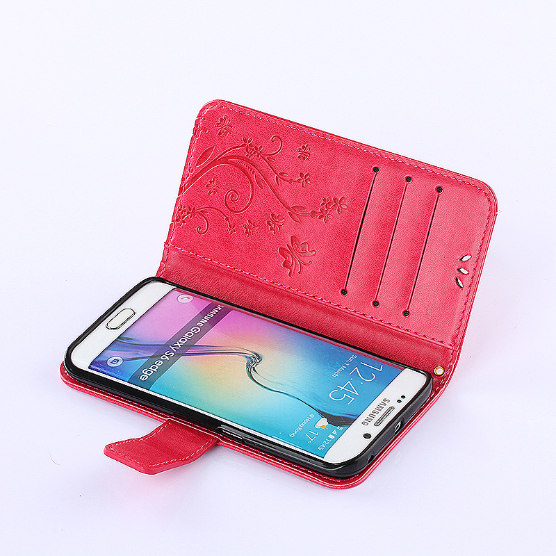 Embossed PU Leather Stand Wallet Case Cover with Card Slots for Samsung Galaxy S6 Edge - Red