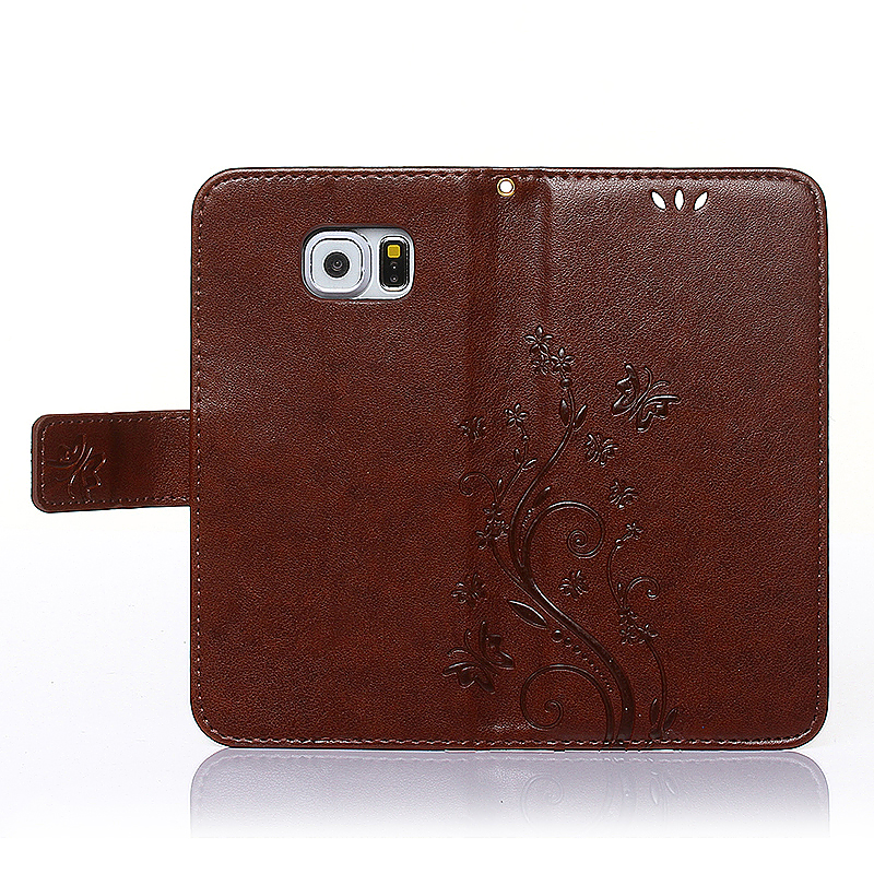 Embossed PU Leather Stand Wallet Case Cover with Card Slots for Samsung Galaxy S6 - Red Brown