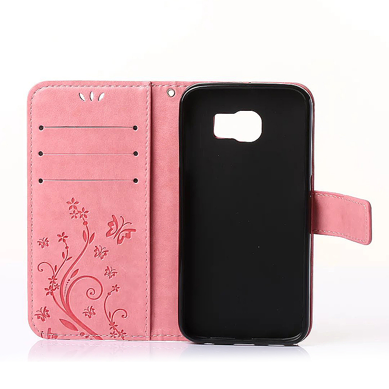 Embossed PU Leather Stand Wallet Case Cover with Card Slots for Samsung Galaxy S6 - Pink