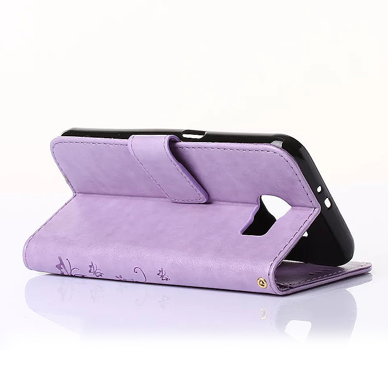 Embossed PU Leather Stand Wallet Case Cover with Card Slots for Samsung Galaxy S6 - Light Purple