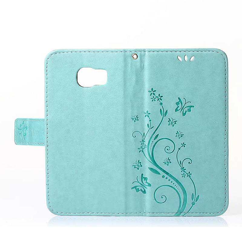 Embossed PU Leather Stand Wallet Case Cover with Card Slots for Samsung Galaxy S6 - Green