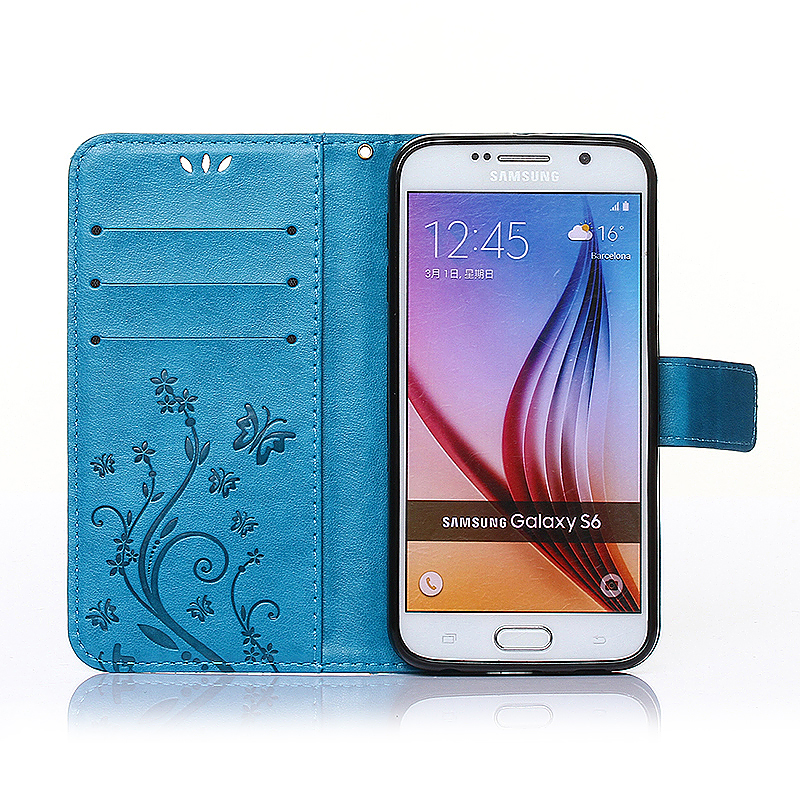 Embossed PU Leather Stand Wallet Case Cover with Card Slots for Samsung Galaxy S6 - Blue