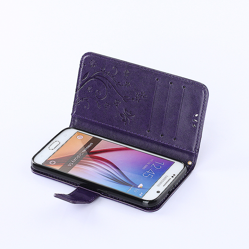 Embossed PU Leather Stand Wallet Case Cover with Card Slots for Samsung Galaxy S6 - Purple