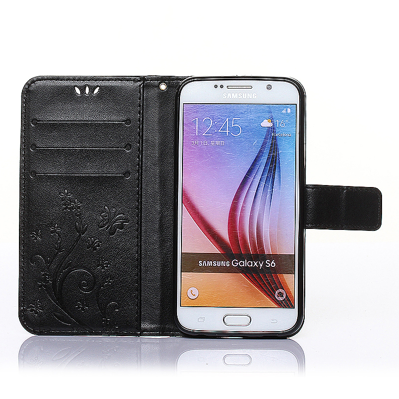 Embossed PU Leather Stand Wallet Case Cover with Card Slots for Samsung Galaxy S6 - Black