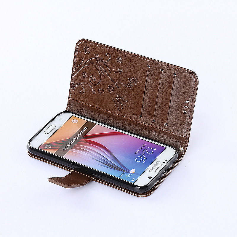 Embossed PU Leather Stand Wallet Case Cover with Card Slots for Samsung Galaxy S6 - Brown