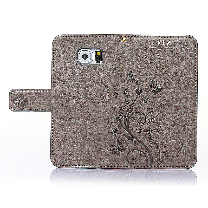 Embossed PU Leather Stand Wallet Case Cover with Card Slots for Samsung Galaxy S6 - Grey