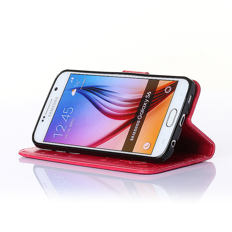 Embossed PU Leather Stand Wallet Case Cover with Card Slots for Samsung Galaxy S6 - Red