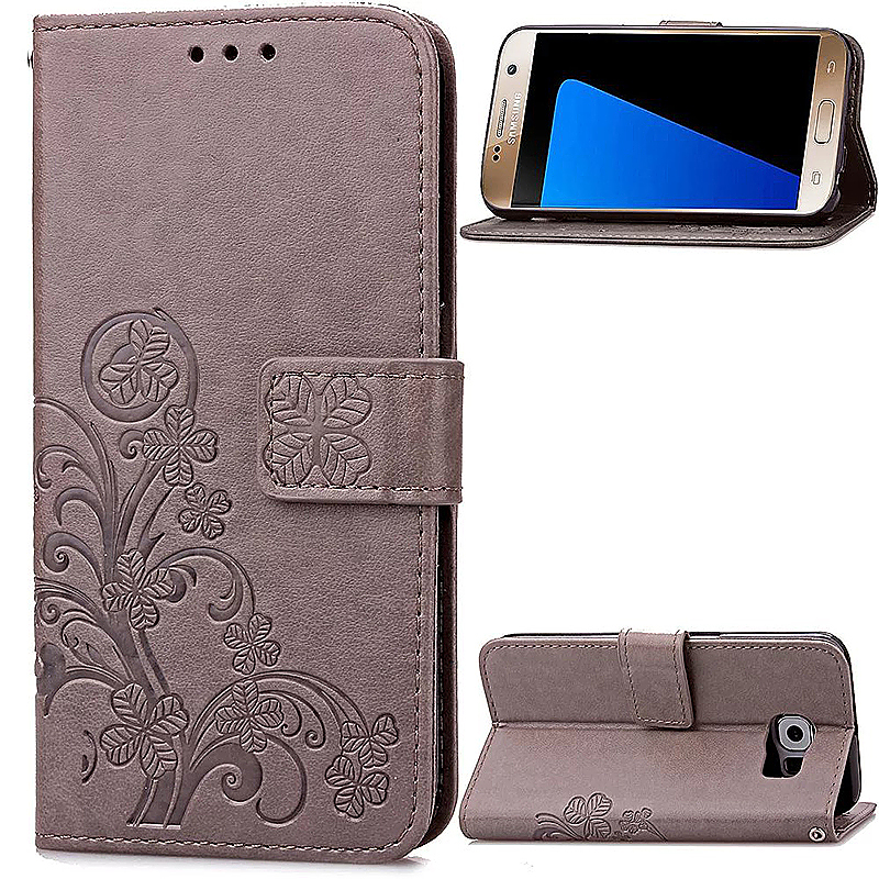 Lucky Clover Pattern PU Leather Flip Stand Wallet Cover Case for Samsung Galaxy S7 - Grey