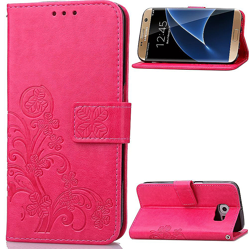 Lucky Clover Pattern PU Leather Flip Stand Wallet Cover Case for Samsung Galaxy S7 Edge - Rose Red
