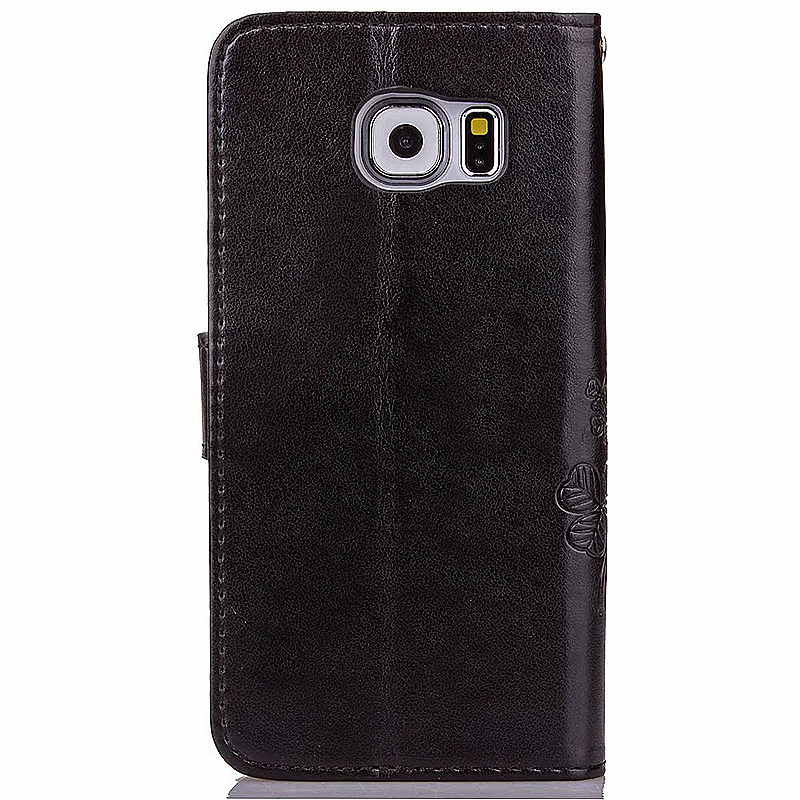 Lucky Clover Pattern PU Leather Flip Stand Wallet Cover Case for Samsung Galaxy S6 - Black