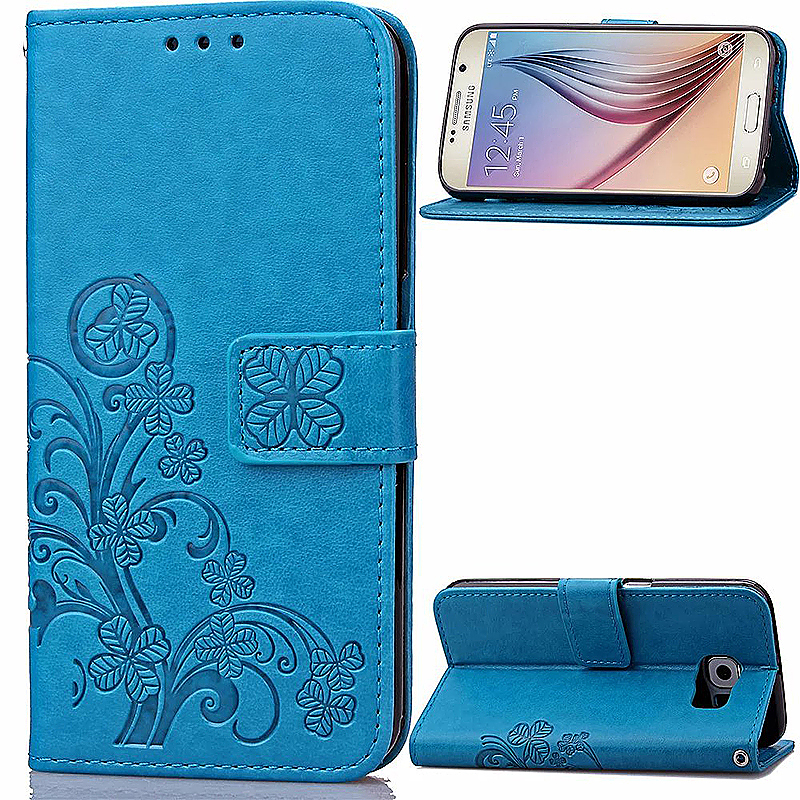 Lucky Clover Pattern PU Leather Flip Stand Wallet Cover Case for Samsung Galaxy S6 - Blue