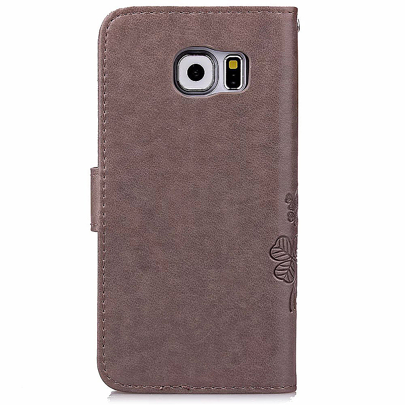 Lucky Clover Pattern PU Leather Flip Stand Wallet Cover Case for Samsung Galaxy S6 - Grey