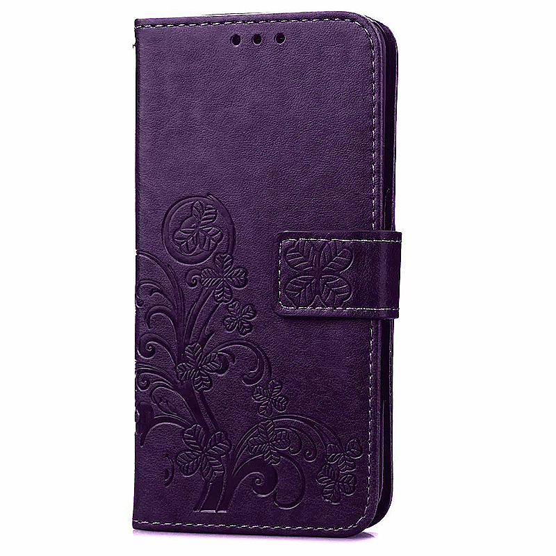 Lucky Clover Pattern PU Leather Flip Stand Wallet Cover Case for Samsung Galaxy S6 - Purple